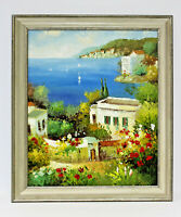 Tuscany Italy Ocean View  20 x 24 Art Oil Painting on Canvas w/Custom Frame