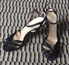 Emporio Armani Black Satin Heels Shoes with Rhinestones Size 37.5