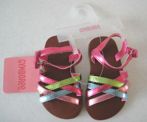 Gymboree NWT PALM SPRINGS Shoes Sandals Metallic Pink Blue Green 03 6