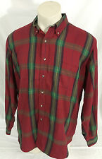 Vintage L.L. Bean Red Navy Green Button Up Long Sleeve Shirt XL-Tall Made in USA