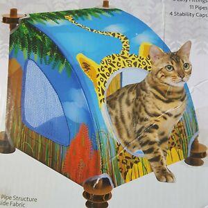 Cat  bed Condo Savanah Cheetah cubby mesh panels comfortableCats Kitten Kitties