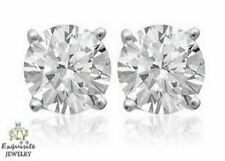 CERTIFIED 1.00ct 1ct ROUND-CUT E-F / VVS2-VS1 DIAMONDS PLATINUM STUDS EARRINGS