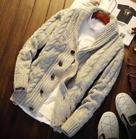 Men's Collared Knitted Cardigan Sweater Thick Shawl Warm Jumper Winter Coats New