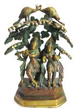 KRISHNA RADHA Statue Messing H=23cm Pfau Mayura Krsna Krischna Indien Hirtengott