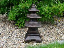 Steinfigur Japanischer Turm Steinlaterne Pagode schwarz kupfer patiniert
