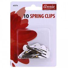 ANNIE 10 COUNT SPRING CLIPS #3174 SILVER METAL SNAP HAIR CLIP