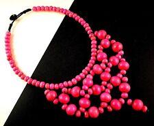 1 Pink Colour Beaded Wood Bohemian Statement Choker Necklace - # B67