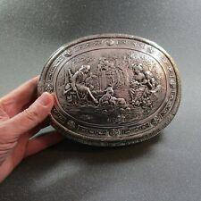 """Antike große Dose """"Schäferidylle"""" aus Silber wohl 19Jh. - 19 x 15 x 6 cm"""