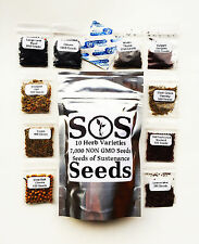 7,000 Herb Seeds 10 Varieties Parsley Cumin Chives Mustard Cilantro Basil Thyme
