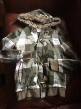Roxy ~Juniors / Young Woman Small Hoodie W Faux Fur Lined Hood Green Check Plaid