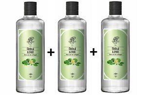 3 BOX Rebul Lime Eau De Cologne (Limon Kolonya) 270ml glass bottle- %80 Alcohol
