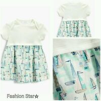 NEW* BNWT NEXT BABY GIRL NEWBORN 0-1 0-3 6-9-12 COTTON BOAT JERSEY DRESS OUTFIT