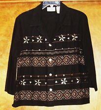 Alfred Dunner Ladies Jacket/Blouse Sz 16P, 3/4 Sleeves, Black w/beads design