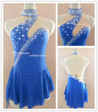 Blue Ice Figure Skating Dresses Custom Women Competition Skating Dress GirlsW037