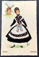 Vintage Embroidered Colorama Postcard Samso Denmark Girl Dress Pin Pricking Art
