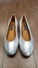 Margaux Silver Woman's Leather Ballet Flats Shoes New Size 8 US Neverworn