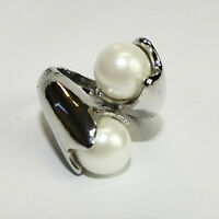 Damen Edelstahl Verlobungs Statement N53 Perlen Ring Kristall Silber Band Gr 56