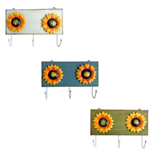 Wood Metal Sunflower Wall Hook Keys Coats Aprons Utilities Hook Kitchen Decor