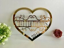 Personalized Last Name Heart Sign Custom Metal Acrylic Door Hanger Wall Hanging
