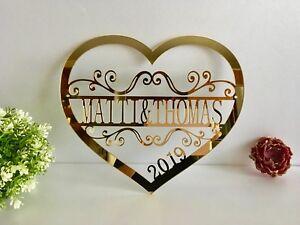 Personalized Heart Sign Custom Names Metal Door Est Hanger Valentines Day Gift