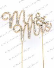 GOLD MR & MRS WEDDING Diamante Rhinestone Gem Cake Topper