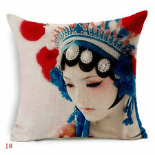 "18"" Chinese Opera Mask Linen Cotton Home Decor Pillow Case Cushion Cover Z341"