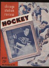1947 NHL Program Canadians @ Chicago Black Hawks EX