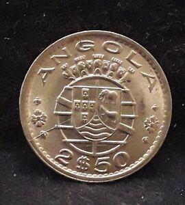 1974 Portuguese Angola (Colony) 2 1/2 escudos, UNC/BU, KM-77 (AN3)