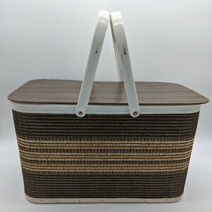 Vintage Redmon Picnic Basket Brown Wood Wicker Basket cottagecore boho decor