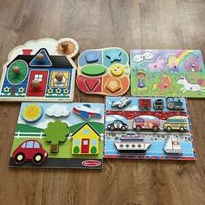 Lot Of 5 Wooden Puzzles Sold As A Set Shapes Cars Transportation Colors Unicorn