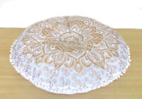 Indian White Golden Ombre Mandala Floor Pillow Cover Round Cushion Cover  24""