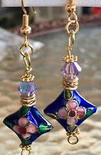 Deep Blue Cloisonné Earrings with Gold Color Hook Earwires