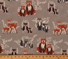 Cotton Hello Bear Forest Animals Deer Doe Fox Raccoon Bear Fabric Print D472.08