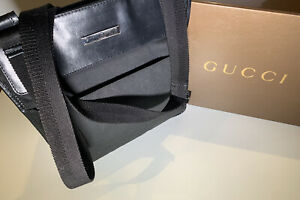 Gucci Canvas Messenger Bag Black Leather w Silver Hardware (Authentic) Small