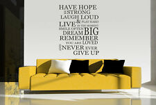 Removable Hope Dream Big Never Give Up Vinyl Wall Paper Decal Art Sticker X1115