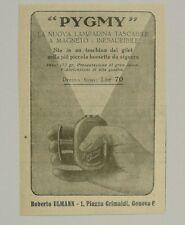 Pubblicità 1928 PYGMY LAMPADINA TASCABILE GENOVA advertising werbung publicitè