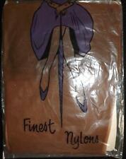 "Vintage Seam Free ""Finest Nylons"" Micro Mesh Stockings Size 9 1/5 Mid Tan"