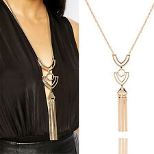 Hot Ladies Retro Long Necklace Gold Sweater Chain Geometric Metal Tassel Pendant