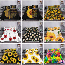 Sunflower Pattern 3pcs Bedding Set Summer Cool Blankets with Pillowcase 5 Sizes