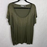 Avenue Green Top Metallic Embelished Ruched Sides Womens Plus Size 18/20