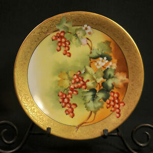 """Limoges T&V 8"""" Cabinet Plate 1907-1919 Hand Painted by Lefort Red Currants Gold"""