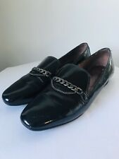 HISPANITAS Size 39 Black Patent Leather Slip On Loafer Chain Featured Shoes