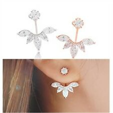 A PAIR  Hot GOLD LEAF Crystal Diamonte Ear STUD Cuff Earrings ladies gift E2