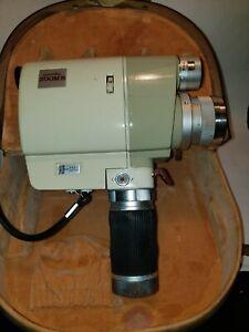 Minolta Zoom 8,1962 8mm motion picture camera in original carrie case