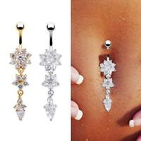 Hot Crystal Ring Body Dangle Ball Barbell Bar Belly Button Navel Ring personalit