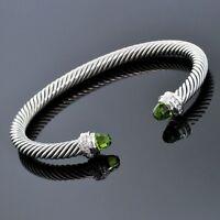 David Yurman Sterling Silver 5mm Diamond Peridot Cable Classic Cuff Bracelet