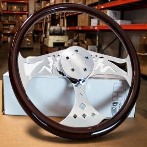 "18"" Wood Steering Wheel Chrome Spoke 5-Bolt Freightliner, Kenworth, Peterbilt"
