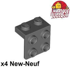 Lego - 4x Bracket 1x2 - 2x2 gris foncé/dark bluish gray 44728 NEUF