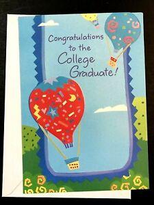 Hot Air Balloons ~  College Graduation Card w/ Envelope ~ Congratulations!