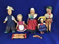 Lot of 5 Vintage Wooden Dolls Some German Hand-carved